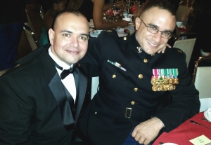 Paul de Souza and Major Guess-Johnson at the 239th Marine Corps Ball.