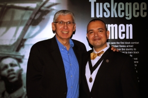 Lieutenant General (ret.), US Army Rhett Hernandez and Paul de Souza, CSFI Founder receiving the Order of Thor Medal.