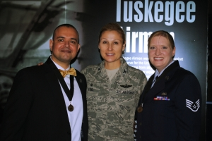 Paul de Souza, USAF Colonel April Vogel, and USAF SSgt Christine de Souza