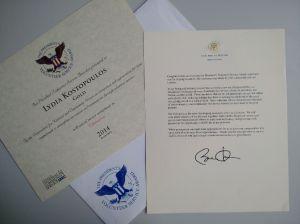 Presidential Award and letter from President Obama.