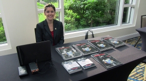 Rachael Cilladi (Communications Manager at Cyber Security Forum Initiative) running the CSFI - United States Cybersecurity Magazine booth at the Cybersecurity Outlook 2016 seminar.  Event Link: http://www.potomactechwire.com/seminar76.html