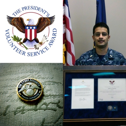 Arvin Verma, Cyber Security Forum Initiative (CSFI) Fellow and an Officer in the US Navy Reserves serving as a Cryptologic Warfare Officer (Designator 1815), is presented with the Presidential Volunteer Service Award for CSFI volunteer work on cyber security projects. He was also presented with a CSFI Challenge coin.
