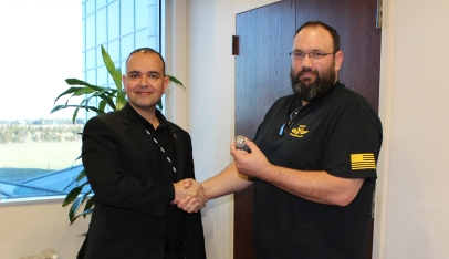 CTF Winner - William Kimble is presented with a CSFI Coin.